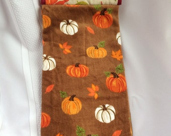 Pumpkin Hanging Hand Towel - Fall Hanging Kitchen Towel -Thanksgiving Hand Towel w/ Fall Leaves Potholder Top - Button Closure -Give Thanks!