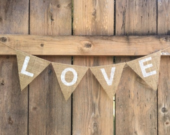 LOVE Burlap Banner - Customize!