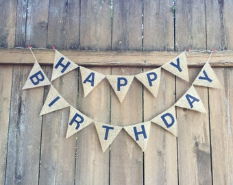 HAPPY BIRTHDAY Burlap Banner - Customize!