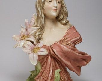 Antique 1900s Royal Dux Art Nouveau porcelain bust