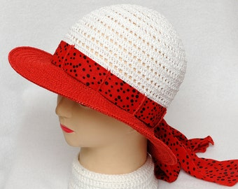 Polka dots hat Red hat Sun Hat Crochet hat Summer Hat Womens Hats Beach Hat Gift for Her Womens Sun Hat Brim Hat Classic hat gift for women