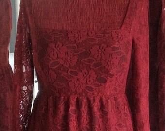 Crimson lace cocktail dress