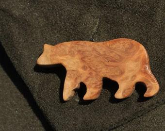 Australian York Gum Burl Wood Animal Bear Brooch Pin
