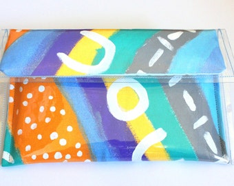 The Splendid Style ZIGZAG Medium Clutch | Hand Painted Canvas  and PVC Vinyl Clutch