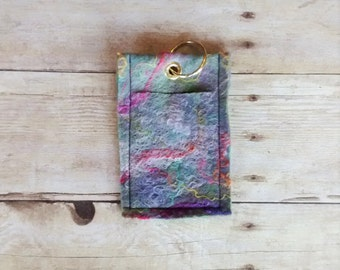 Felted Mini-wallet, Key Chain, ID and Credit Card Holder