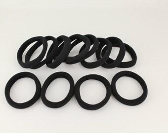 Black pack of 12 super stretchy hair ties ponytail holder elastic braids plaits pony tail holders