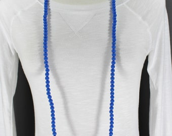 "super extra long beaded necklace 44"" long double wrap strand  Brown Black White Red Clear Blue"