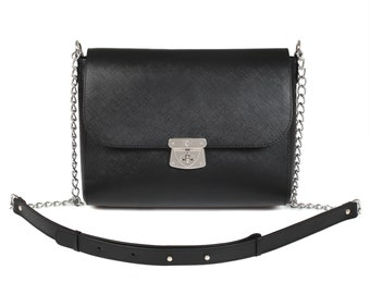 Leather Cross body Bag, Black Leather Shoulder Bag, Women's Leather Crossbody Bag, Leather bag KF-626