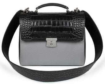 Leather Top Handle Bag, Grey Leather Handbag Top Handle, Women's Leather Bag KF-706