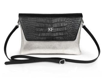 Leather Crossbody Bag, Silver Leather Shoulder Bag, Women's Leather Cross body Bag, Leather bag KF-459