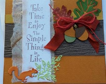Card - Handamade 3D Thanksgiving Card- Autumn Birthday Card- All Occasion fall card - Congratulations Card-  Harvest Fall Thank You