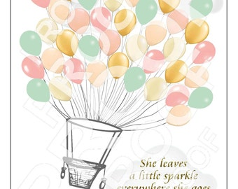 Adorable Personalized Hot Air Balloon Baby Shower Guest Signing Poster