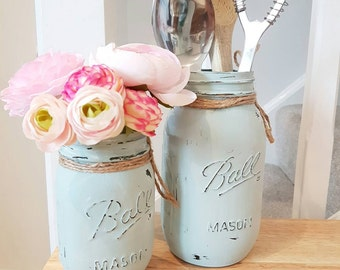 Hand painted Ball Mason Jars. Set of 2 - Perfect for Weddings/ Home Decor/Outdoor/Centrepieces