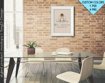 "A2 42x60cm #R02 White Black Portrait Landscape Frame in Dining room, 4 Print Display Mockups, PNG PSD PSE, Opening 16.5x23.4"", Custom colors"