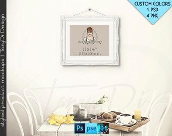 11x14 #R04 White Black Ornate Portrait Landscape Frame on Interior wall, 4 Print Display Mockups, PNG PSD PSE, Opening 28x36cm Custom colors