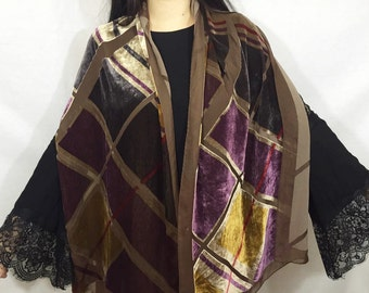 Vintage 70s velvet burnout scarf - thin velvet colorful purple brown sheer panel soft long scarf