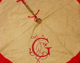 Burlap ruffle tree skirt with monogram