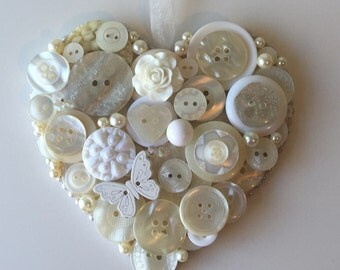 Hanging button heart, wedding, bridal, bridesmaid or birthday gift, UK seller