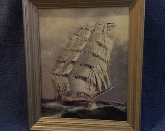 American Flag Clipper Ship Lithograph Framed/Nautical Decor