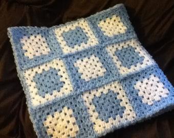 Crocheted Light blue baby blanket