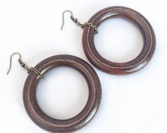 Large Wooden Hoop Earrings