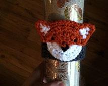 Foxy coffee cup cosy | crochet fox mug/cup/mason jar/water bottle cozy | animal coffee coosy