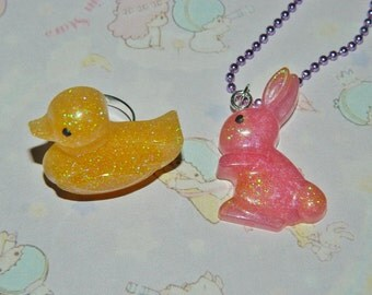 Kawaii Bunny Rabbit Duck Chick Necklace Ring Spring