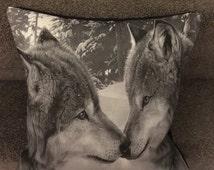 "Wolf cushion/ wolf home decor/ wolf decorative pillow/ kissing wolves/ 16"" x 16"" cushion/ handmade cushion"
