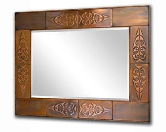 Decorative mirror, Rustic mirror, Copper mirror frame. Metal mirror frame, Metal accent frame. Aztec design.
