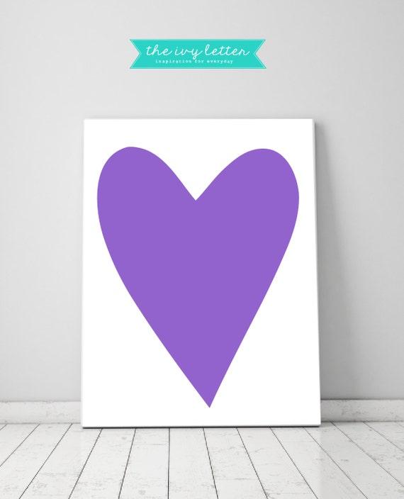 Wall Art Love Hearts : Purple love heart wall art for girls bedroom home decor