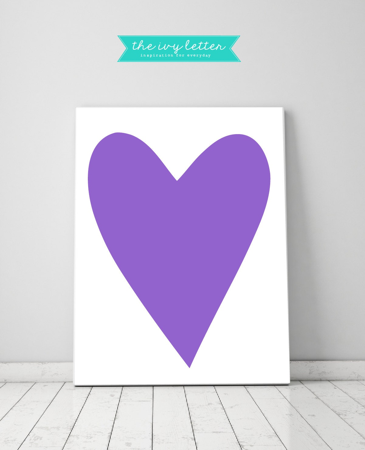 Wall Art Love Heart : Purple love heart wall art for girls bedroom home decor