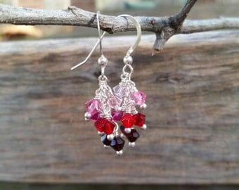 Cascade crystal earrings, shades of reds, shades of pinks, handmade jewelry, earrings, ombre effect, Swarovski crystal, customizable