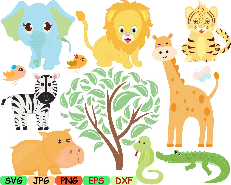 Zoo Jungle Animals Digital Clip Art SVG Graphic Personal