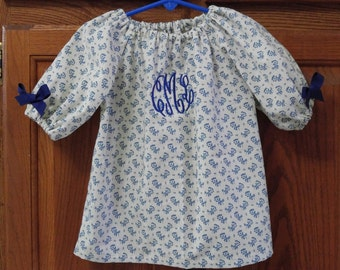 Monogrammed Peasant Dress for Baby/Toddler/, Valentine's Dress, Spring Dress, Easter Dress, Summer Dress
