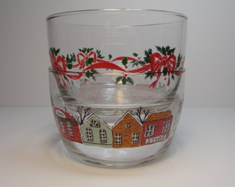 Vintage Libbey Christmas Candy, Nut, Snack Bowls Dishes, Bows & Holly and Winter Village Scene