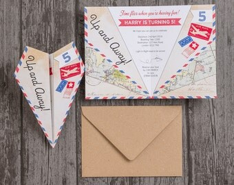 Paper Airplane Birthday Party Invitation