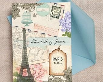 Vintage Postcard Paris Eiffel Tower Wedding Invitation with envelopes