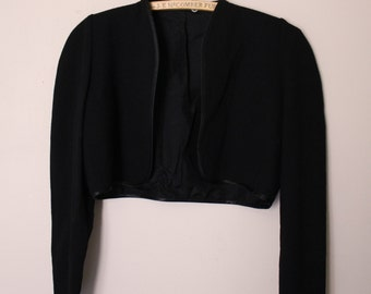 Pure wool bolero jacket with bow cuffs *made in Canada*