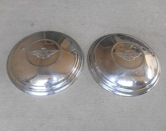 Set of Two Vintage Hubcaps