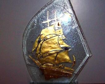 decoration, glass,ship,, fusing,