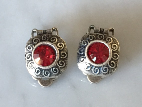 Red Crystal Clip On Earrings, Antique Silver