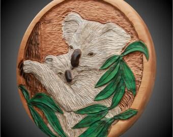 Mother/Baby Koalas Version 4 Wall Sculpture