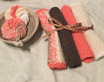 Dishcloth - 4 Cotton Hand Crocheted Dishcloths with 2 Scrubbies in Sandstone, Creams, Brown and Tangerine