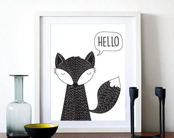 Hello Fox Art print, Black and White Fox Digital Art, Modern nursery Decor, Fox Kids room decor, Instant download (BabyArt Y10)