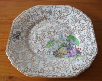 "Lord Nelson Ware ""Pompadour"" bread plate"