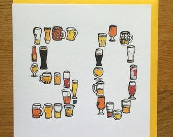 50th fifty birthday card men /male drinking card beer 50