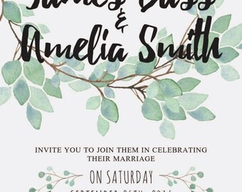 PACKAGE DEAL: Eucalyptus Wedding Invitation Package