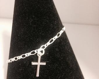 Silver cross charm bracelet