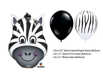 Zebra Mylar Balloons with Zebra Print and Black latex