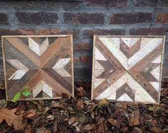 Set of Two- Reclaimed Lath Square Wall Hangings / Salvaged Wood Art